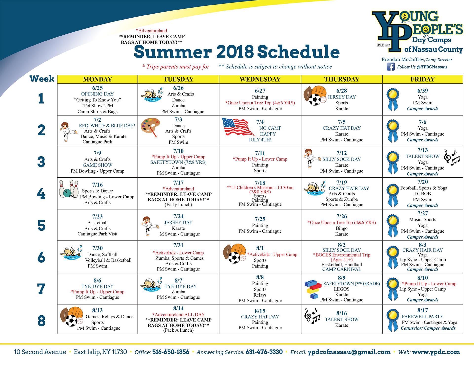 2018 Nassau Calendar